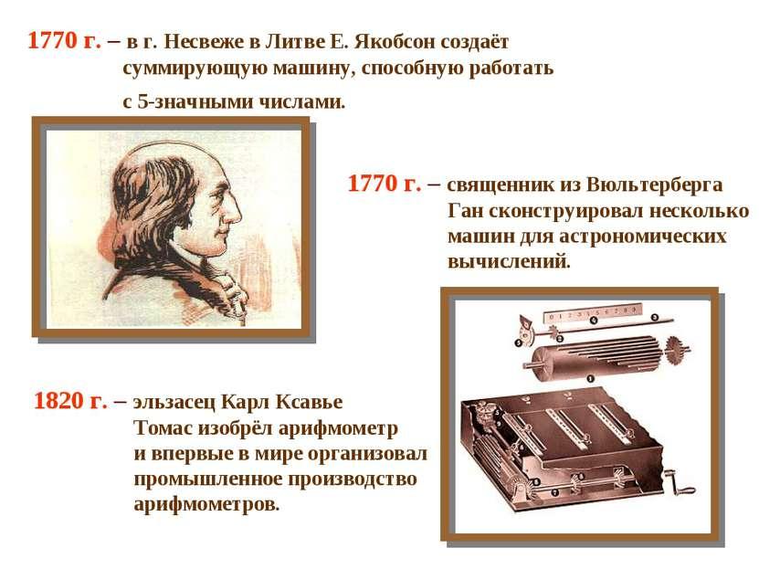 1770 г. – в г. Несвеже в Литве Е. Якобсон создаёт суммирующую машину, способн...