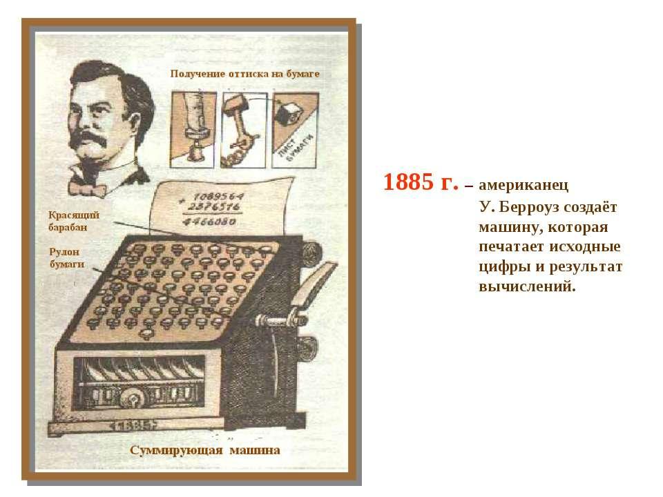 1885 г. – американец У. Берроуз создаёт машину, которая печатает исходные циф...