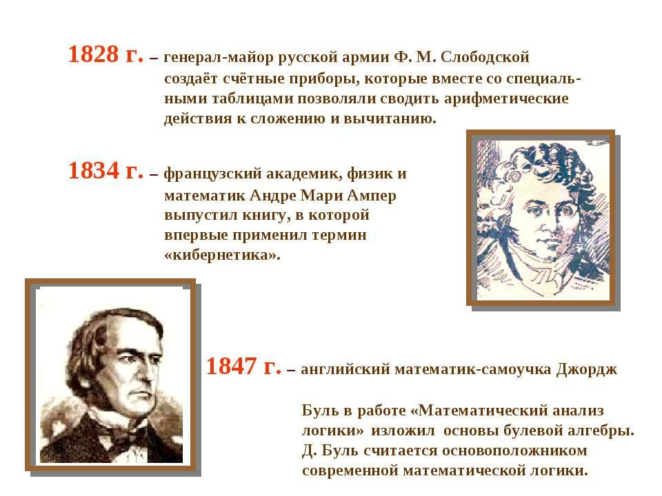 1828 г. – генерал-майор русской армии Ф. М. Слободской создаёт счётные прибор...