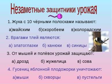 Жука с 10 чёрными полосками называют: а)майским б)скоробеем в)колорадским 2. ...