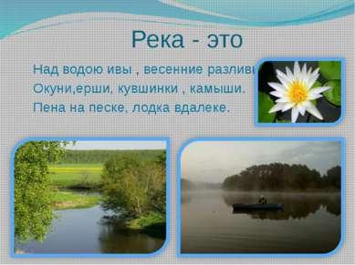 Река - это Над водою ивы , весенние разливы. Окуни,ерши, кувшинки , камыши. П...