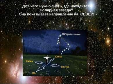 Для чего нужно знать, где находится Полярная звезда? Она показывает направлен...