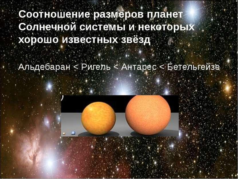 Альдебаран < Ригель < Антарес < Бетельгейзе Соотношение размеров планет Солне...