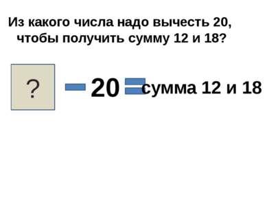 Из какого числа надо вычесть 20, чтобы получить сумму 12 и 18? ? 20 сумма 12 ...