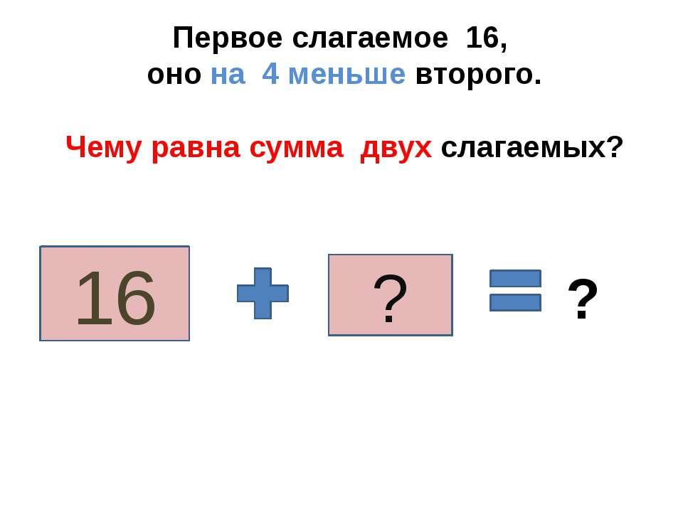 Первое слагаемое 16, оно на 4 меньше второго. Чему равна сумма двух слагаемых...