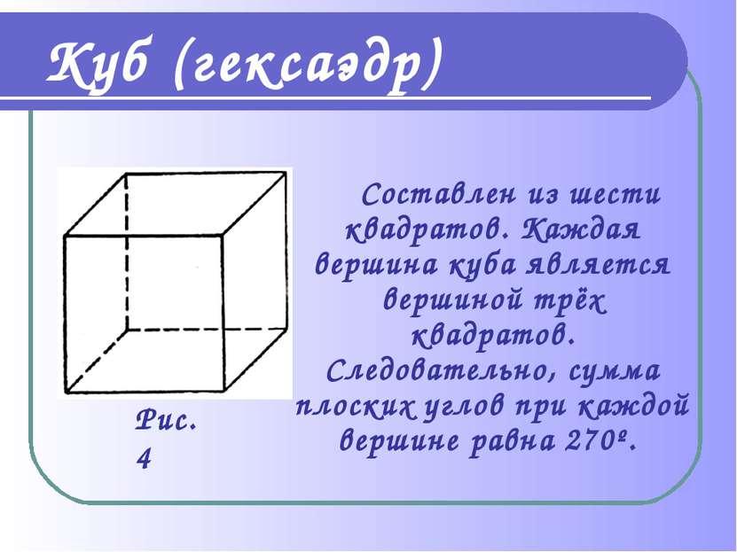 Составлен из шести квадратов. Каждая вершина куба является вершиной трёх квад...