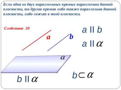 Следствие 20 Если одна из двух параллельных прямых параллельна данной плоскос...