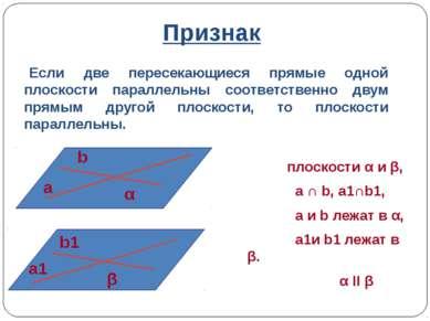 Признак плоскости α и β, a ∩ b, a1∩b1, a и b лежат в α, a1и b1 лежат в β. α I...