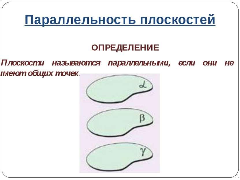 Параллельность плоскостей ОПРЕДЕЛЕНИЕ Плоскости называются параллельными, есл...