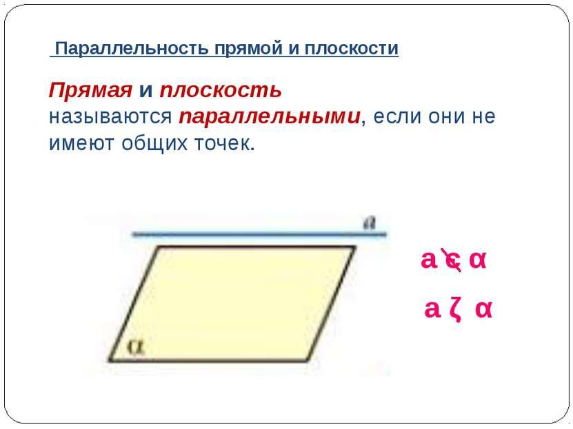 Прямая и плоскость называютсяпараллельными, если они не имеют общих точек. a...