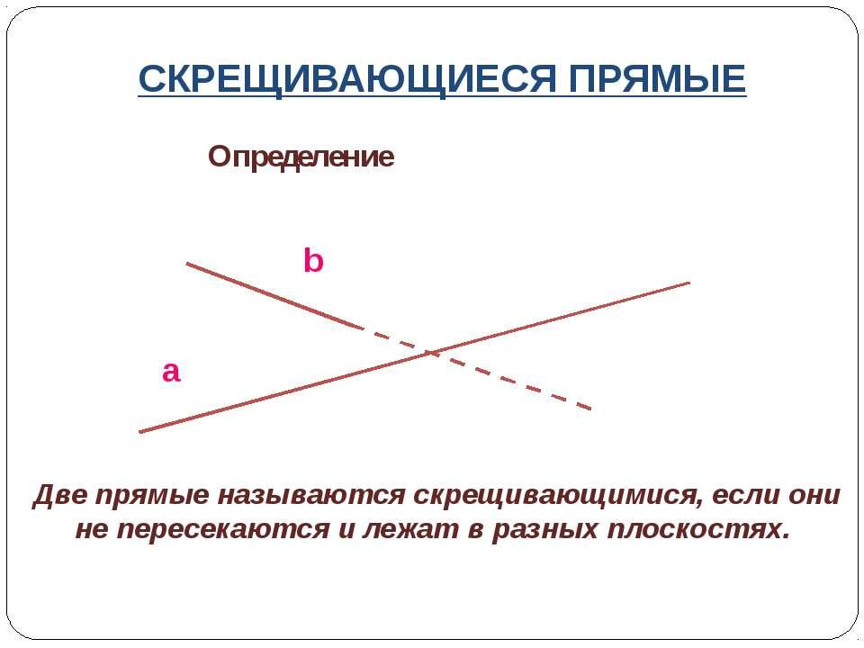 СКРЕЩИВАЮЩИЕСЯ ПРЯМЫЕ Определение a b Две прямые называются скрещивающимися, ...