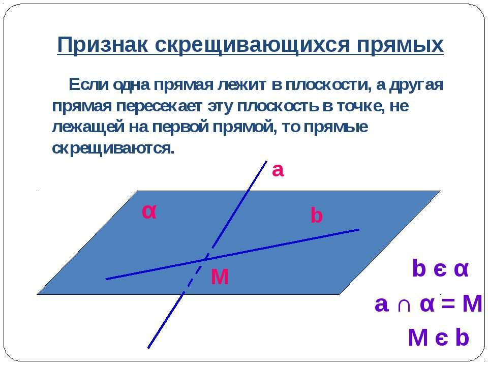 Признак скрещивающихся прямых Если одна прямая лежит в плоскости, а другая пр...