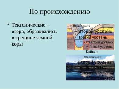 По происхождению Тектонические – озера, образовались в трещине земной коры Ба...