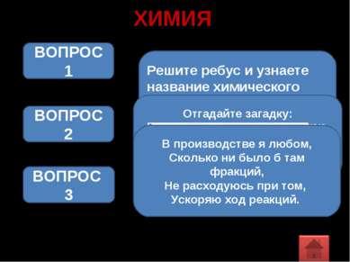 ХИМИЯ Решите ребус и узнаете название химического элемента ВОПРОС 1 ВОПРОС 2 ...