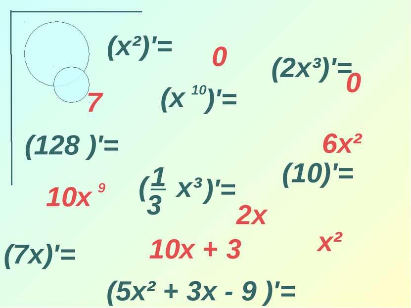 (x²)′= (2x³)′= (7x)′= (10)′= (128 )′= (5x² + 3x - 9 )′= x² 2x 6x² 0 0 7 10x + 3