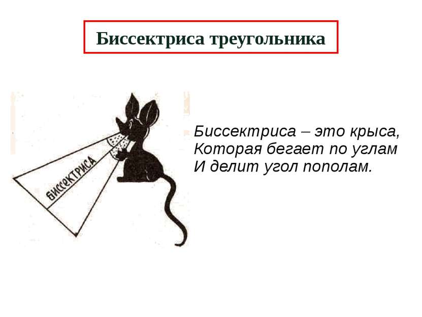 Биссектриса треугольника Биссектриса – это крыса, Которая бегает по углам И д...