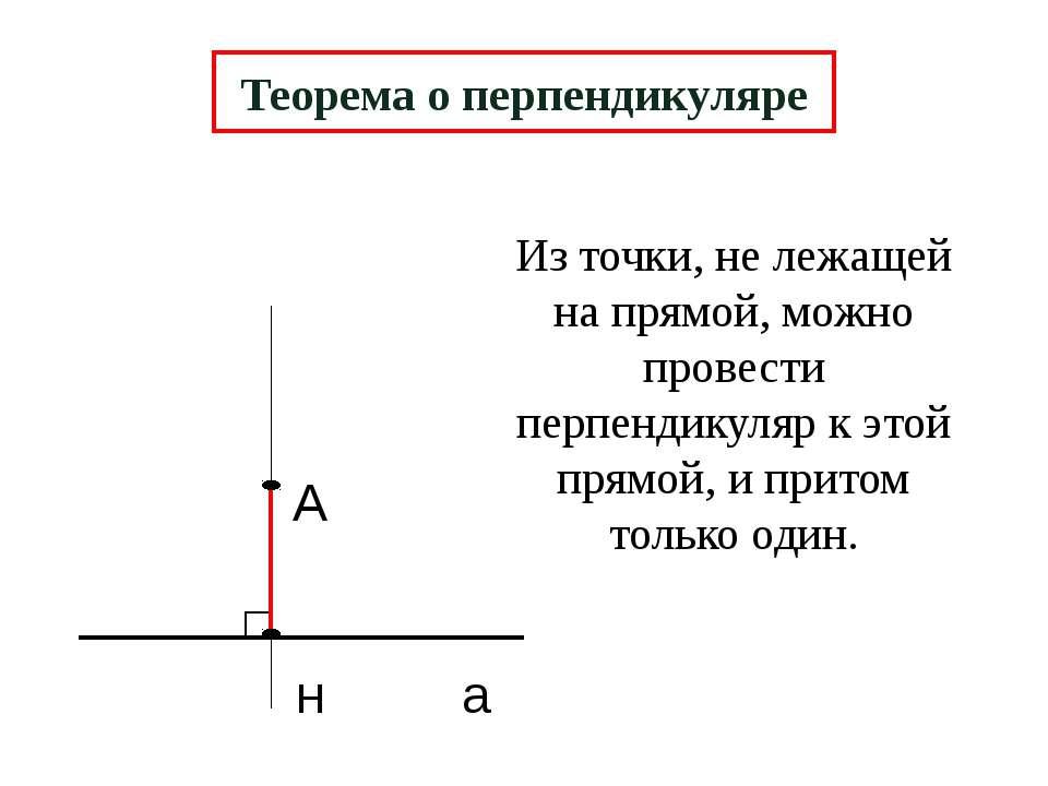 А н а Теорема о перпендикуляре Из точки, не лежащей на прямой, можно провести...