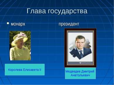 Глава государства монарх президент Королева Елизавета II Медведев Дмитрий Ана...