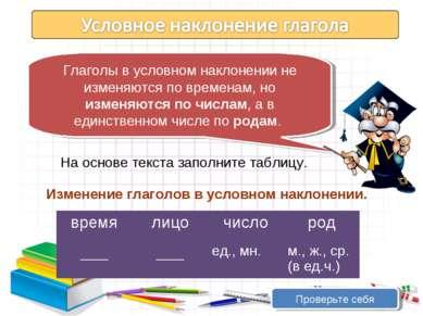 Глаголы в условном наклонении не изменяются по временам, но изменяются по чис...