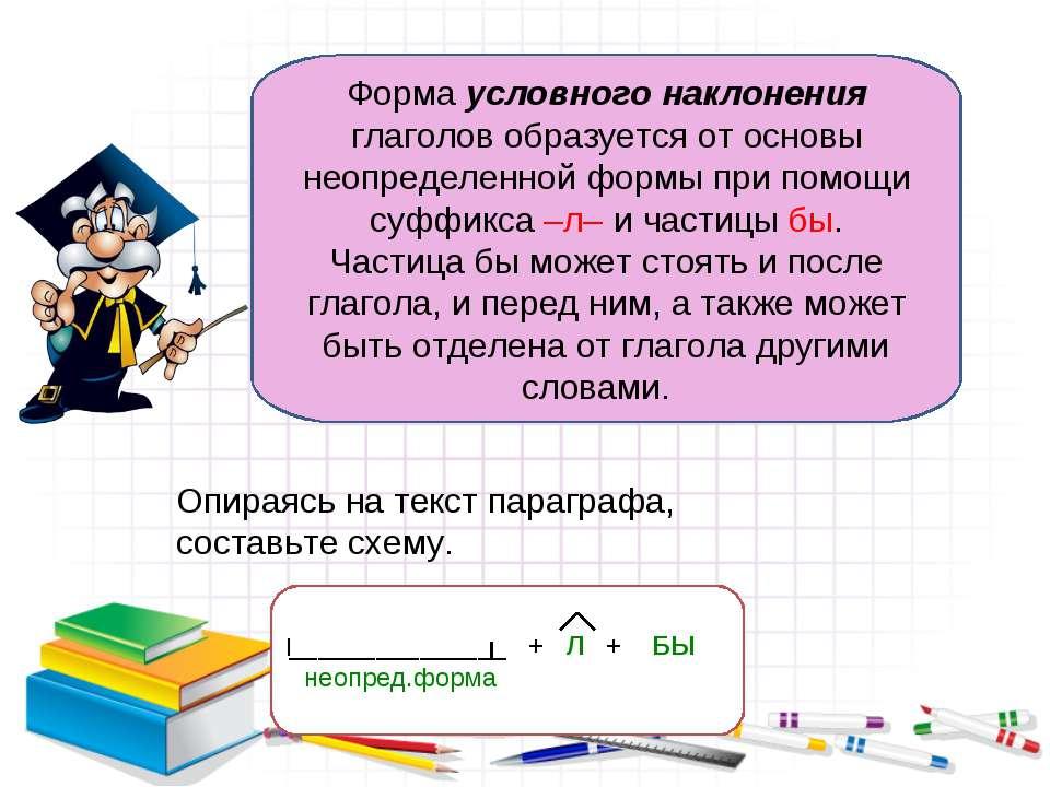 Форма условного наклонения глаголов образуется от основы неопределенной формы...