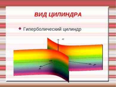 ВИД ЦИЛИНДРА Гиперболический цилиндр