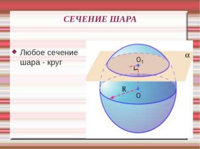 СЕЧЕНИЕ ШАРА Любое сечение шара - круг