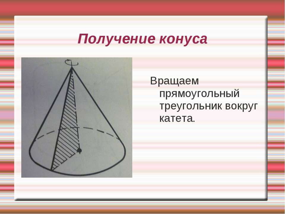 Получение конуса Вращаем прямоугольный треугольник вокруг катета.