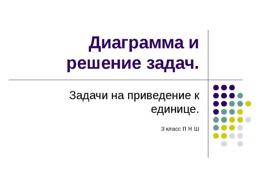 Диаграмма и решение задач. Задачи на приведение к единице. 3 класс П Н Ш