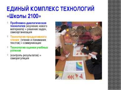 ЕДИНЫЙ КОМПЛЕКС ТЕХНОЛОГИЙ «Школы 2100» Проблемно-диалогическая технология (и...