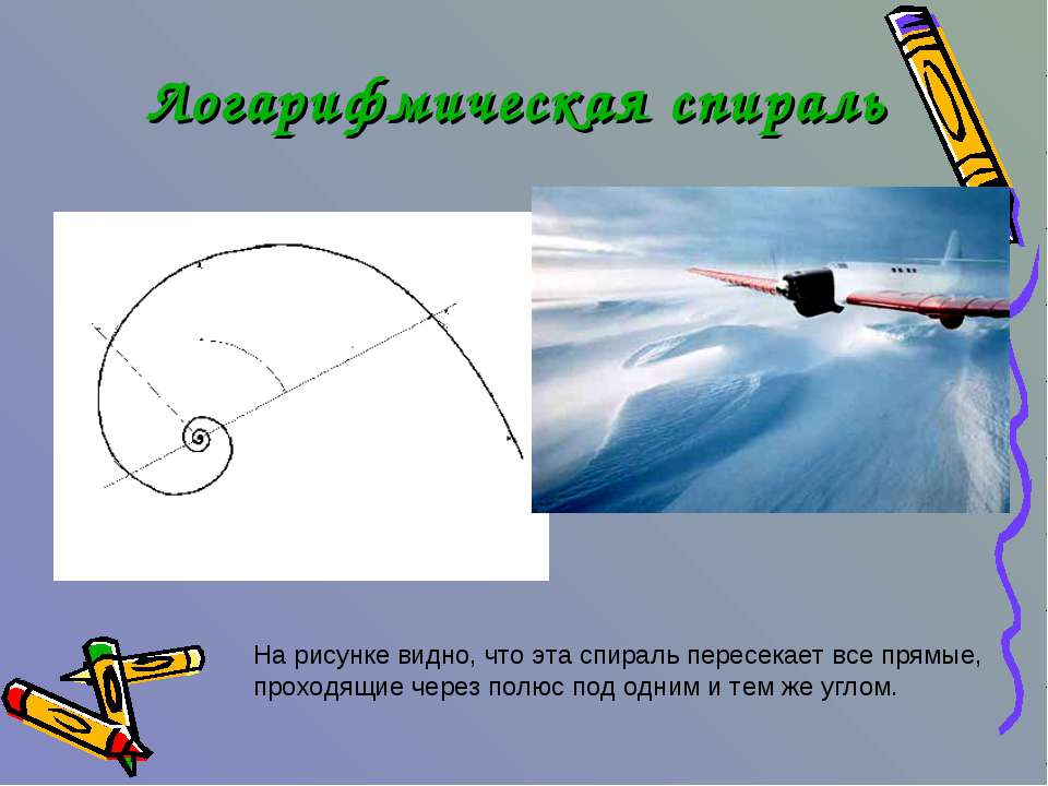 На рисунке видно, что эта спираль пересекает все прямые, проходящие через пол...