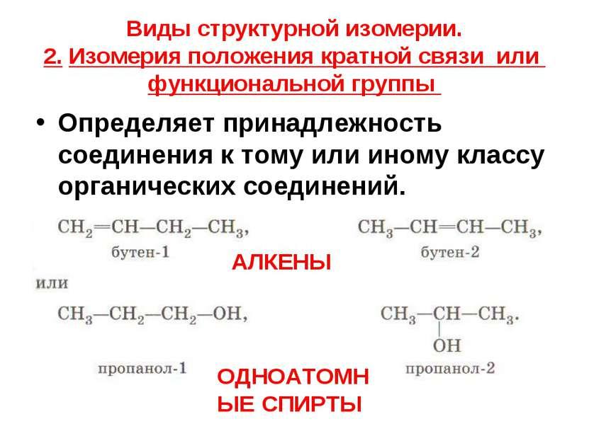 Виды структурной изомерии. 2. Изомерия положения кратной связи или функционал...