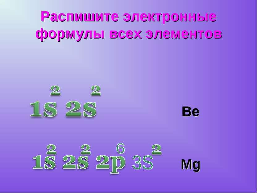 Распишите электронные формулы всех элементов Ве Mg