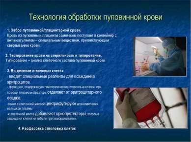 Технология обработки пуповинной крови 1. Забор пуповинной/плацентарной крови....