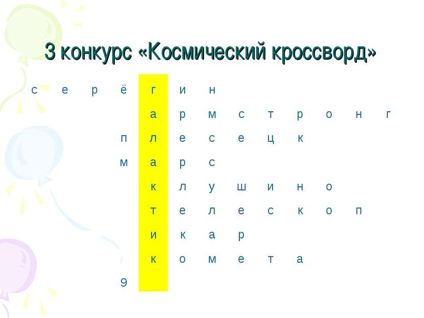 3 конкурс «Космический кроссворд» с е р ё г и н а р м с т р о н г п л е с е ц...