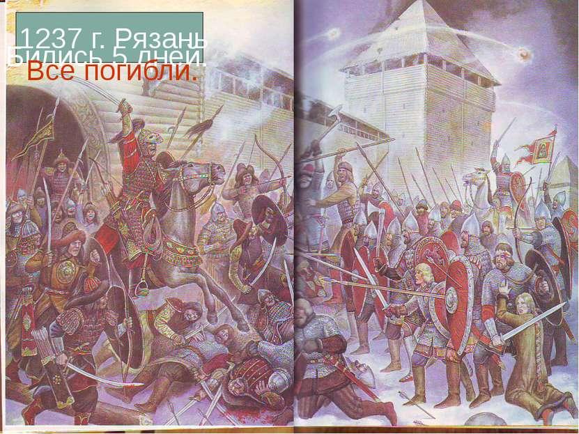 1237 г. Рязань Бились 5 дней. Все погибли.