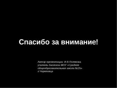 Спасибо за внимание! Автор презентации: И.В.Полякова, учитель биологии МОУ «С...