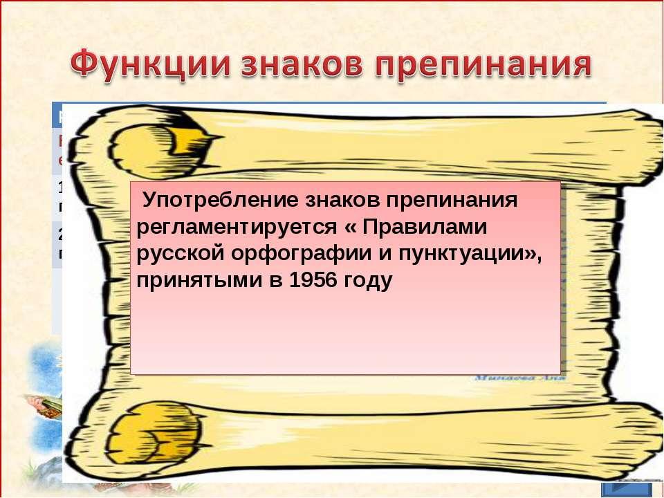 Употребление знаков препинания регламентируется « Правилами русской орфографи...