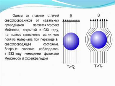 Одним из главных отличий сверхпроводников от идеальных проводников являетсяэ...