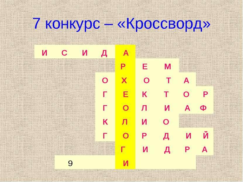 7 конкурс – «Кроссворд» И С И Д А Р Е М О Х О Т А Г Е К Т О Р Г...