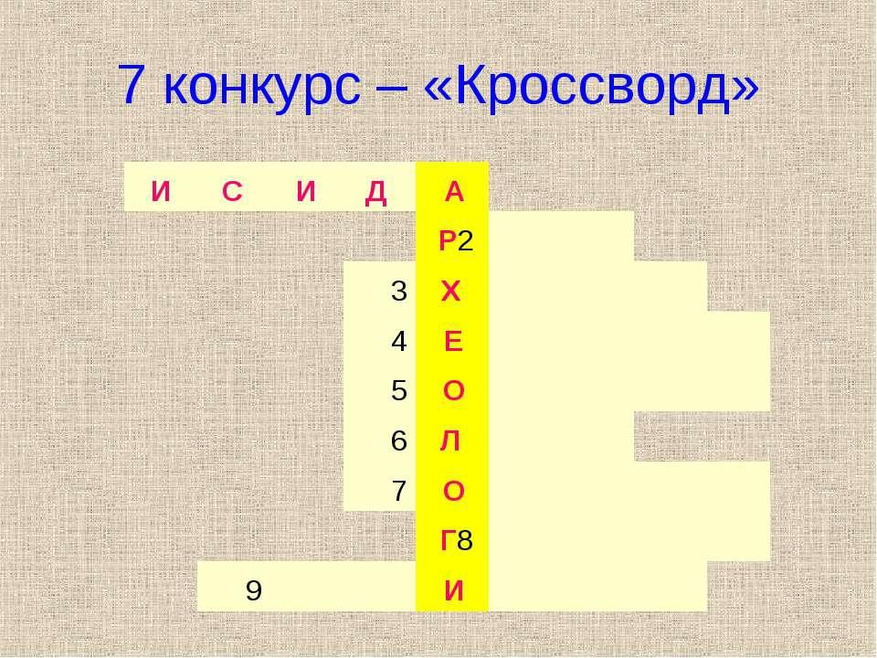 7 конкурс – «Кроссворд» И С И Д А Р2   3 Х    4 Е     5 О   ...