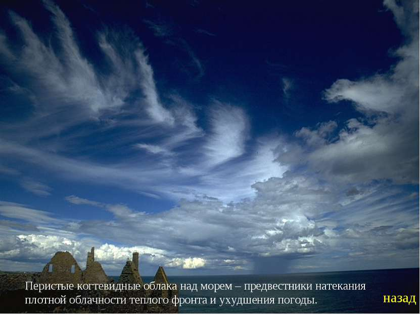 Перистые когтевидные облака над морем – предвестники натекания плотной облачн...