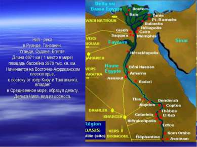 Нил - река в Руанде, Танзании, Уганде, Судане, Египте. Длина 6671 км ( 1 мест...