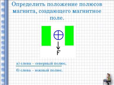 Определить положение полюсов магнита, создающего магнитное поле. а) слева – с...
