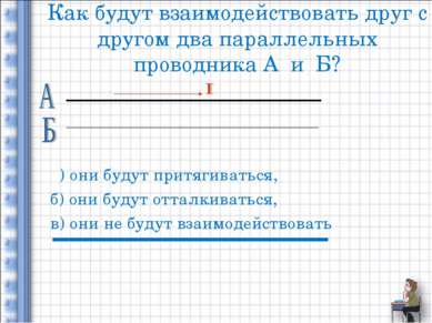 Как будут взаимодействовать друг с другом два параллельных проводника А и Б? ...