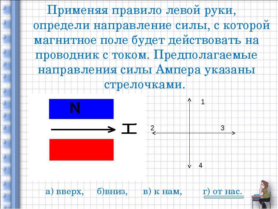 Применяя правило левой руки, определи направление силы, с которой магнитное п...