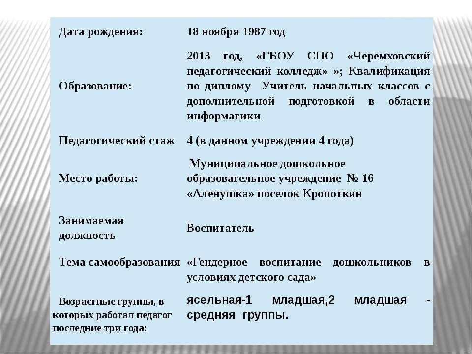 Дата рождения: 18ноября 1987 год Образование: 2013год,«ГБОУСПО «Черемховский ...