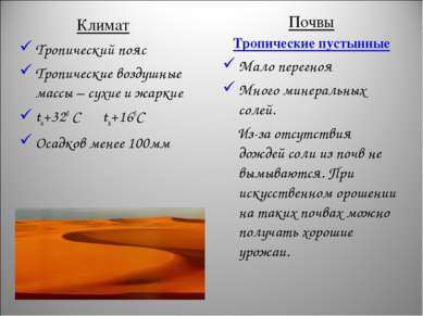 Климат Тропический пояс Тропические воздушные массы – сухие и жаркие tи+320 С...