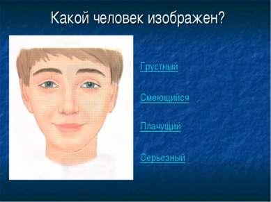 Какой человек изображен? Грустный Смеющийся Плачущий Серьезный