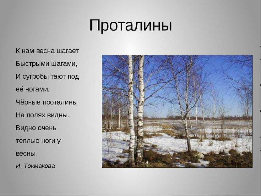 Проталины К нам весна шагает Быстрыми шагами, И сугробы тают под её ногами. Ч...
