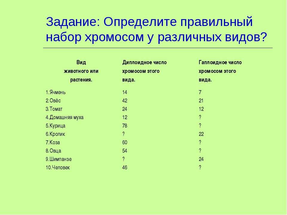 Задание: Определите правильный набор хромосом у различных видов? Вид животног...